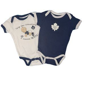 SQUIRT SQUAD Pair of  Maple Leafs Onesies 12 mo